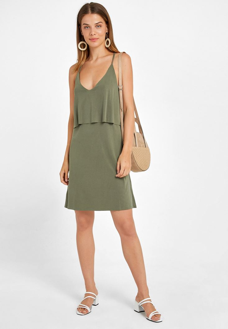 Green Soft Touch Dress with V Neck Details