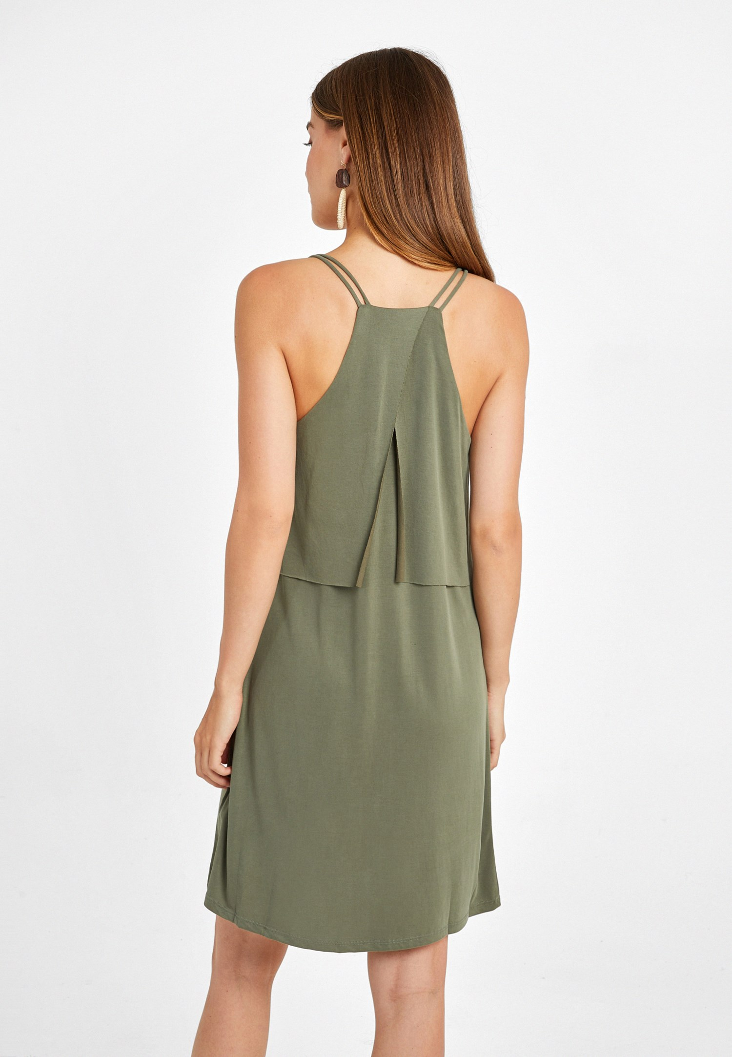 Bayan Yeşil Yumuşak Dokulu V Yaka Elbise
