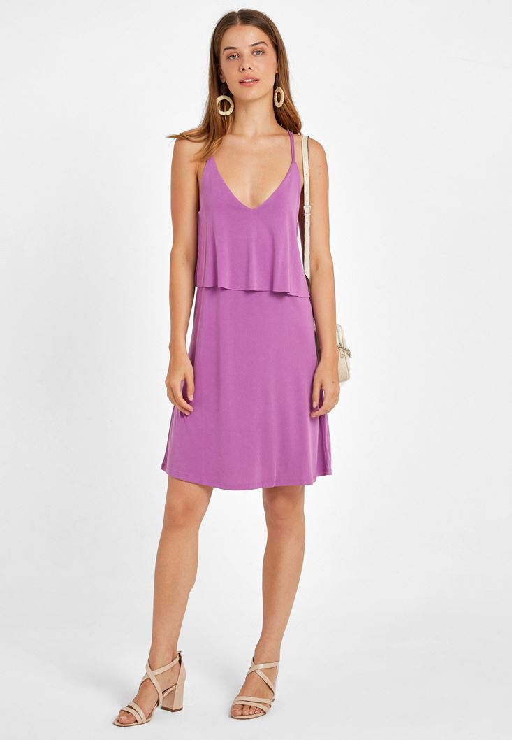 Purple Soft Touch Dress with V Neck Details