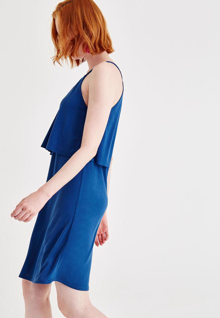 Bayan Lacivert Yumuşak Dokulu V Yaka Elbise