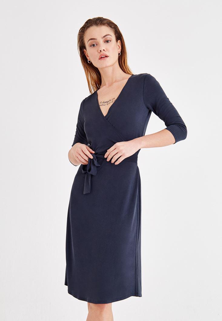 Bayan Siyah Yumuşak Dokulu Beli Bağlamalı Elbise