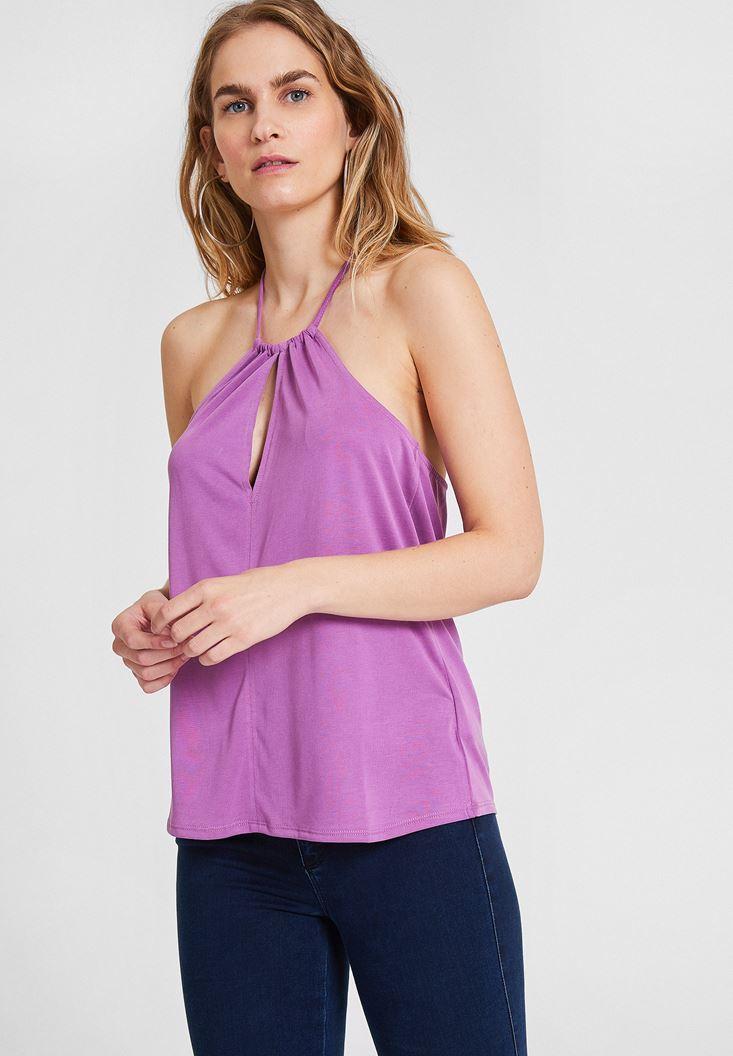 Purple Neck Detailed Blouse
