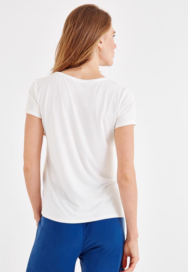 Bayan Krem Yumuşak Dokulu V Yaka Basic Tişört