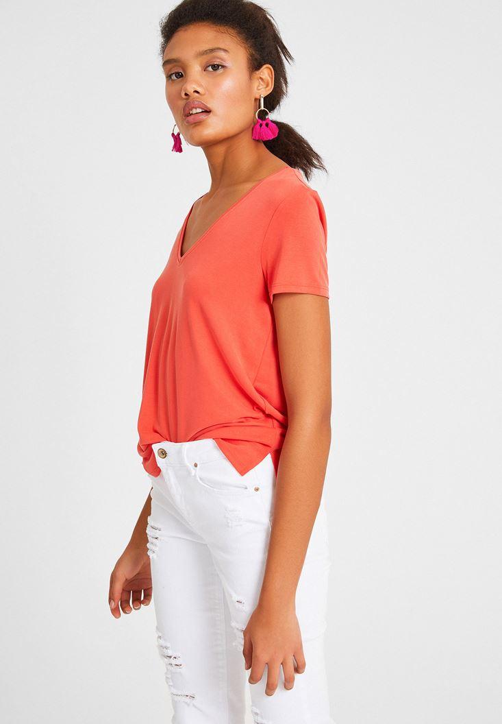 Red V Neck Basic T-shirt