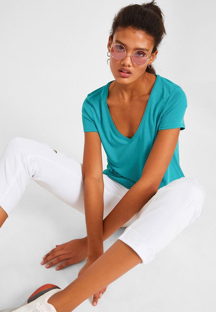 Green V Neck Basic T-shirt
