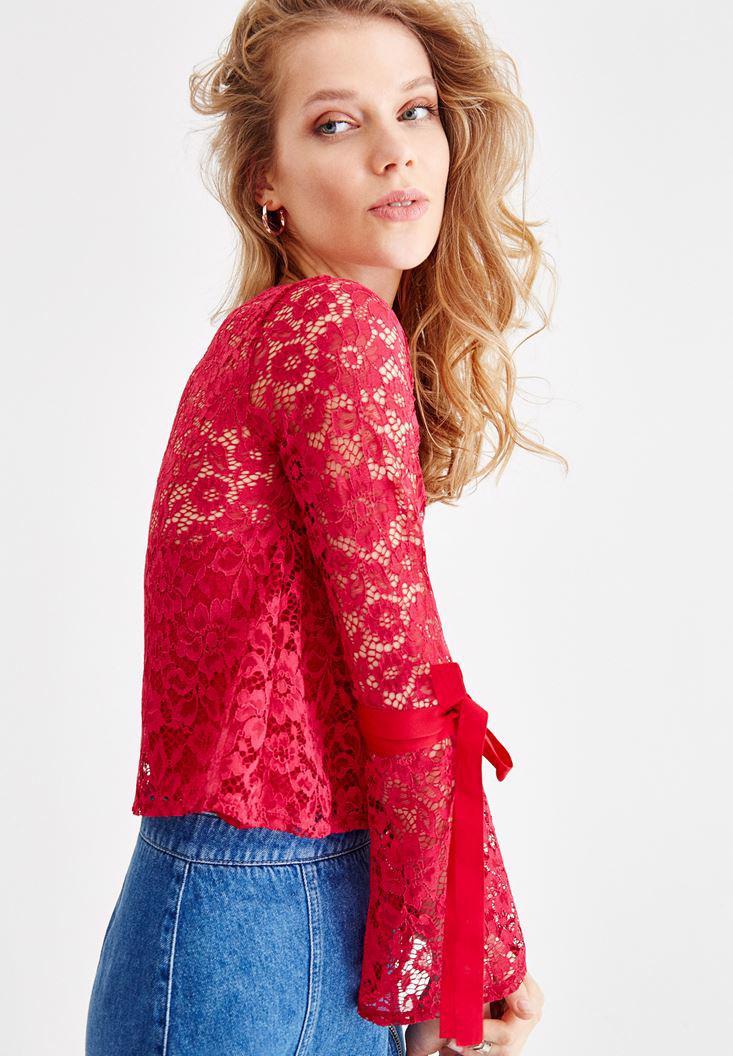 Bayan Pembe Kol Detaylı Dantel Bluz
