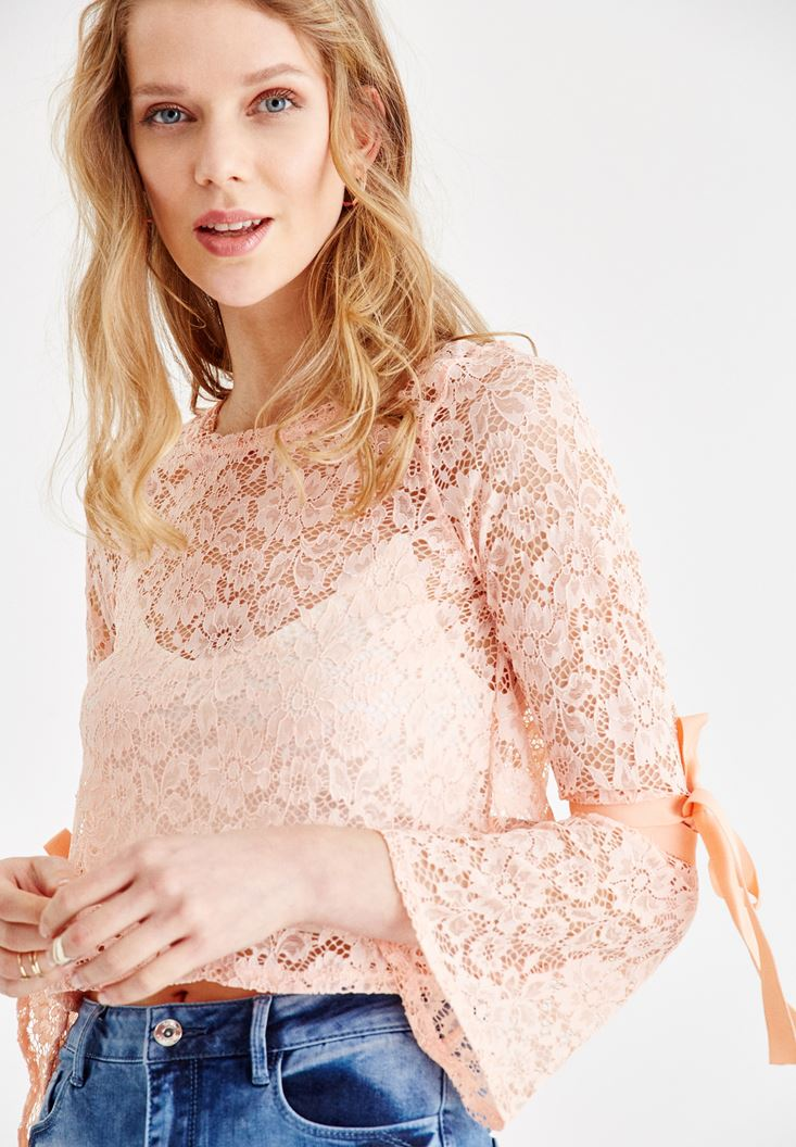 Pink Blouse with Lace and Arm Details