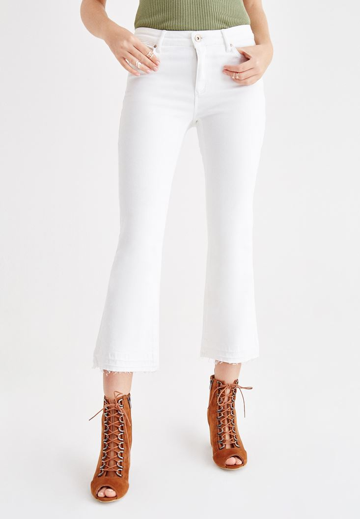 White Mid Rise Kick Flare Pants