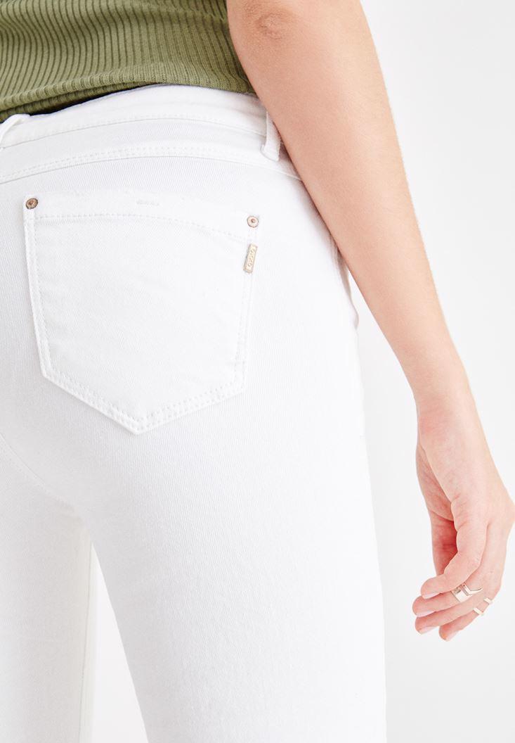 Bayan Beyaz Orta Bel Kick Flare Jean