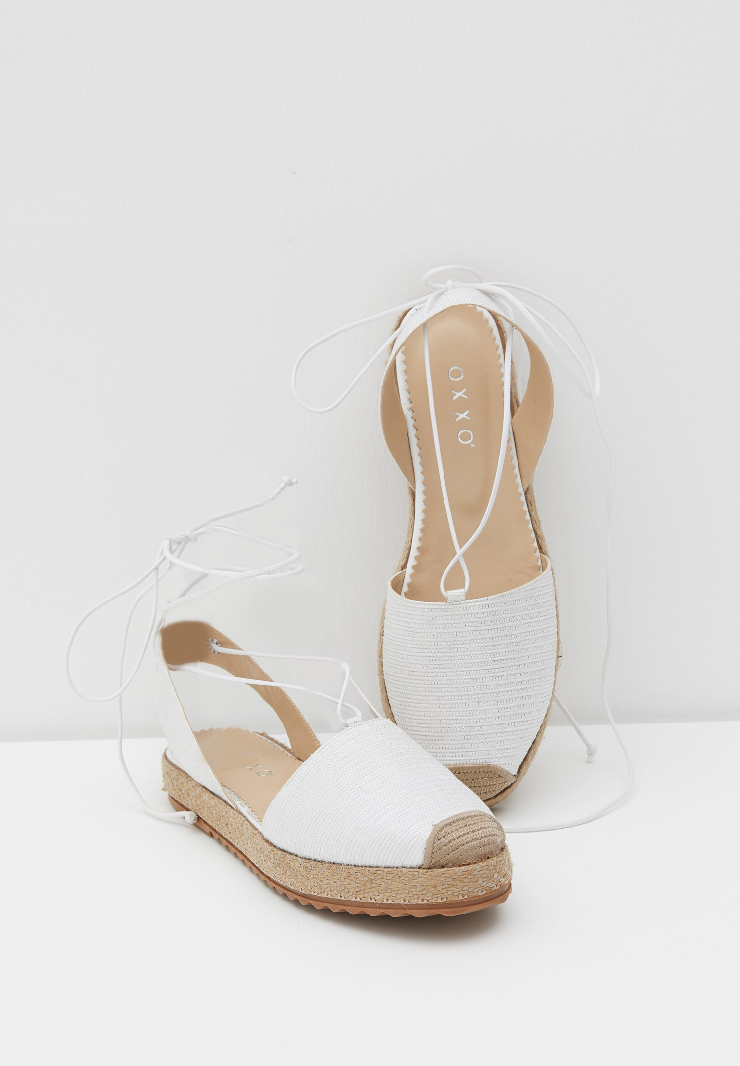 Women White Espadrille with Shiny Details