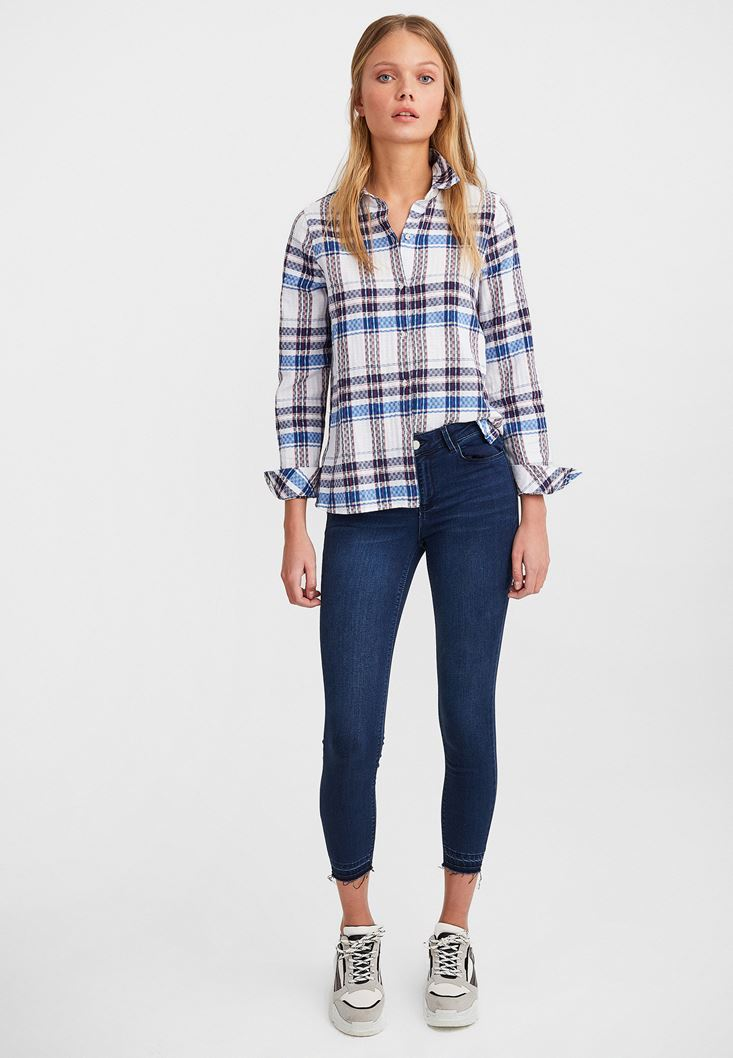 Mixed Cotton Shirt with Stripe Details
