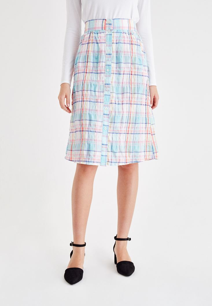 Mixed Plaid Skirt with Pocket Details