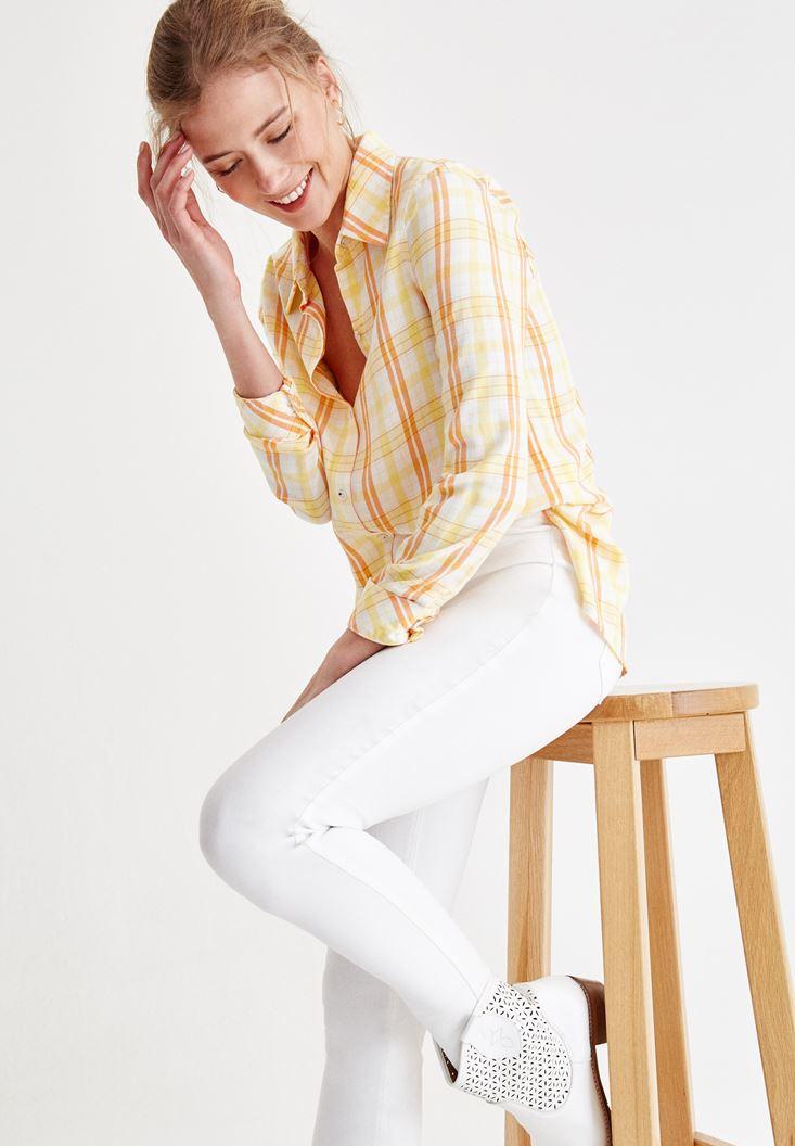 Turuncu Kareli Uzun Kollu Gömlek