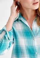 Women Green Long Sleeve Shirt with Stripe Details