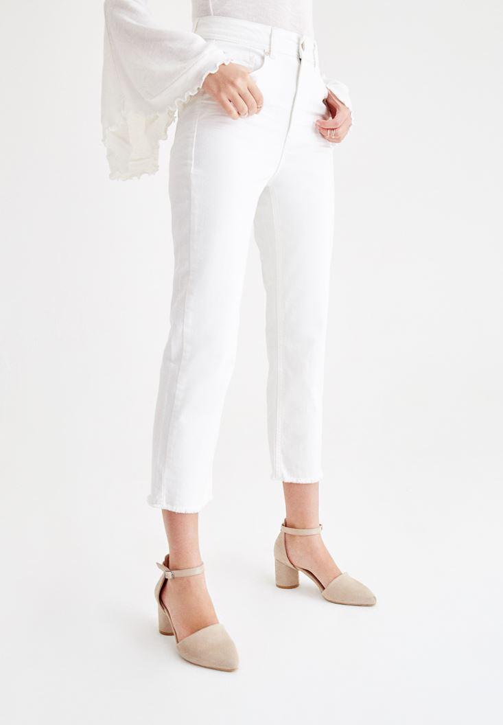 Beyaz Ultra Yüksek Bel Slim Mom Pantolon