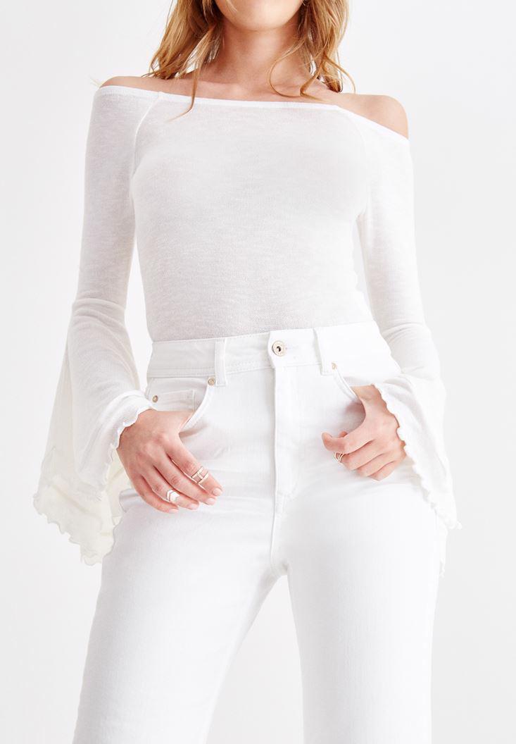 Bayan Beyaz Ultra Yüksek Bel Slim Mom Pantolon