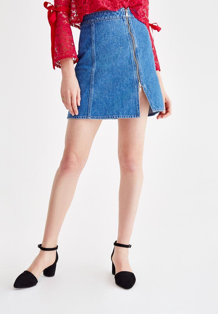 Blue Denim Skirt with Zipper Detail