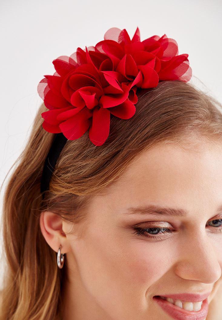 Bayan Kırmızı Çiçekli Saç Bandı