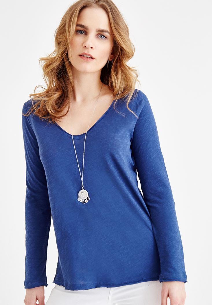 Blue Long Sleeve Cotton T-shirt with V Neck Details