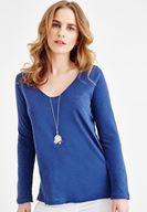 Bayan Mavi Uzun Kollu V Yaka Pamuk Tişört