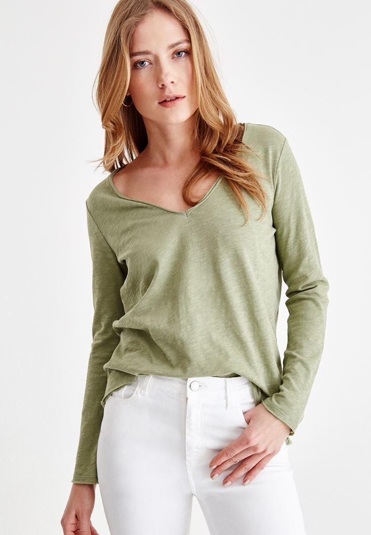 Yeşil Uzun Kollu V Yaka Pamuk Tişört