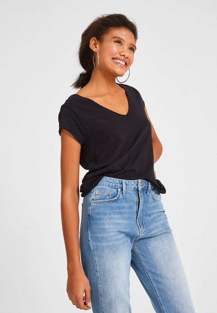 Black Short Sleeve V Neck Cotton T-shirt