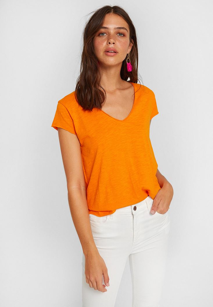 Orange Short Sleeve V Neck Cotton T-shirt