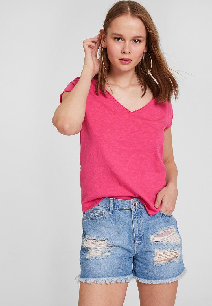 Pink Short Sleeve V Neck Cotton T-shirt