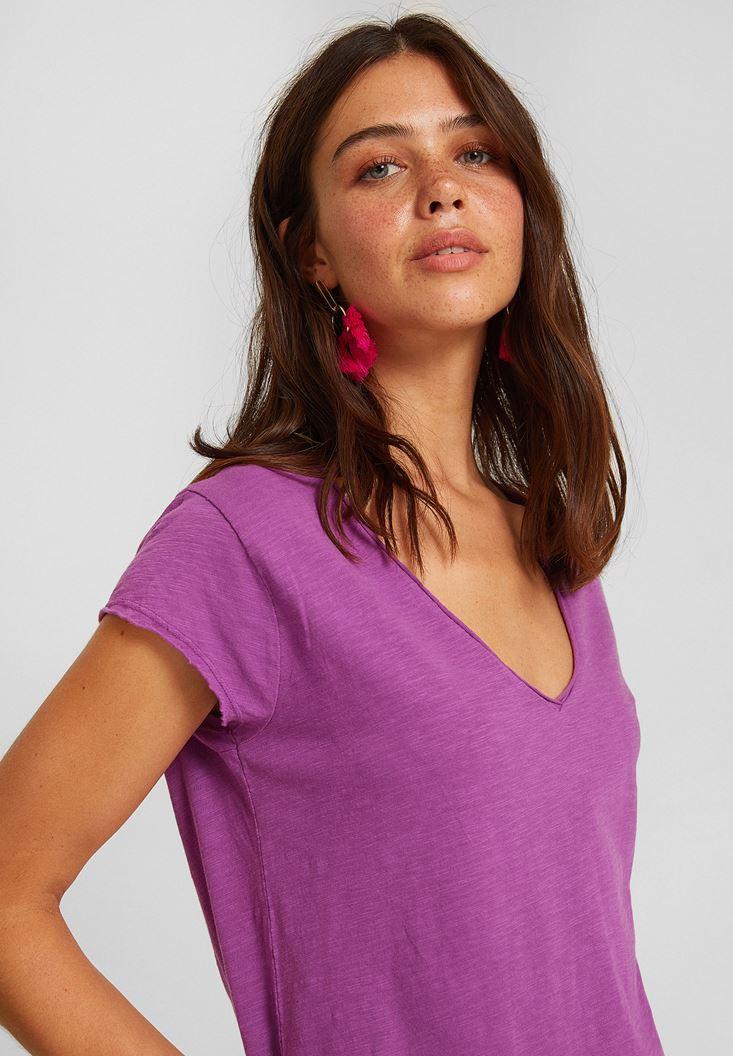 Purple Short Sleeve V Neck Cotton T-shirt