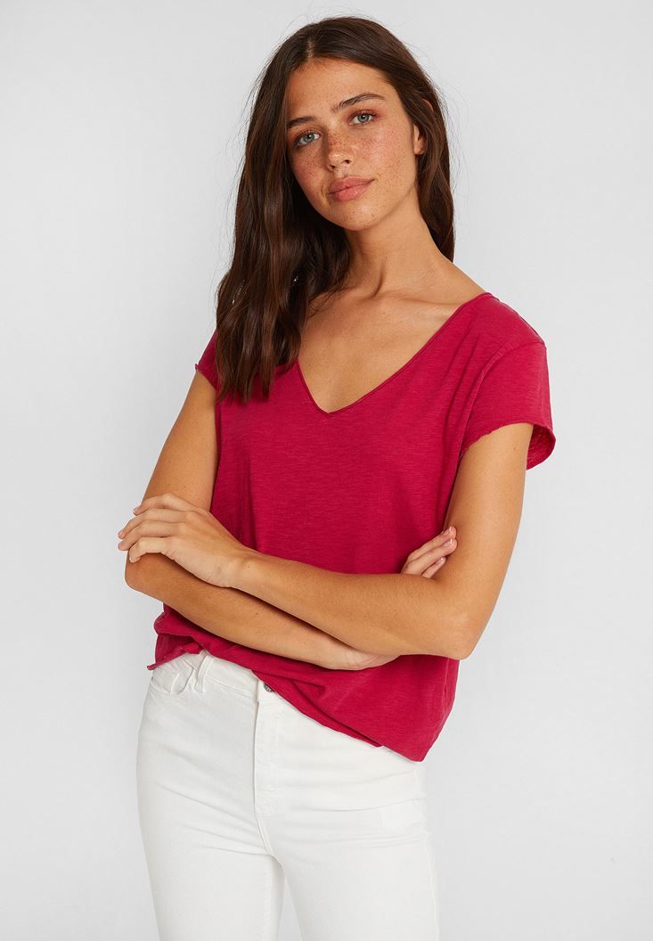 Pink Short Sleeve V Neck Cotton T-shirt