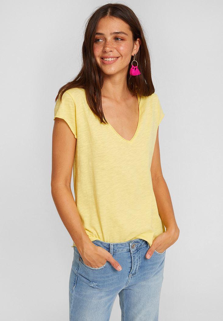 Sarı V Yaka Kısa Kollu Pamuk Tişört