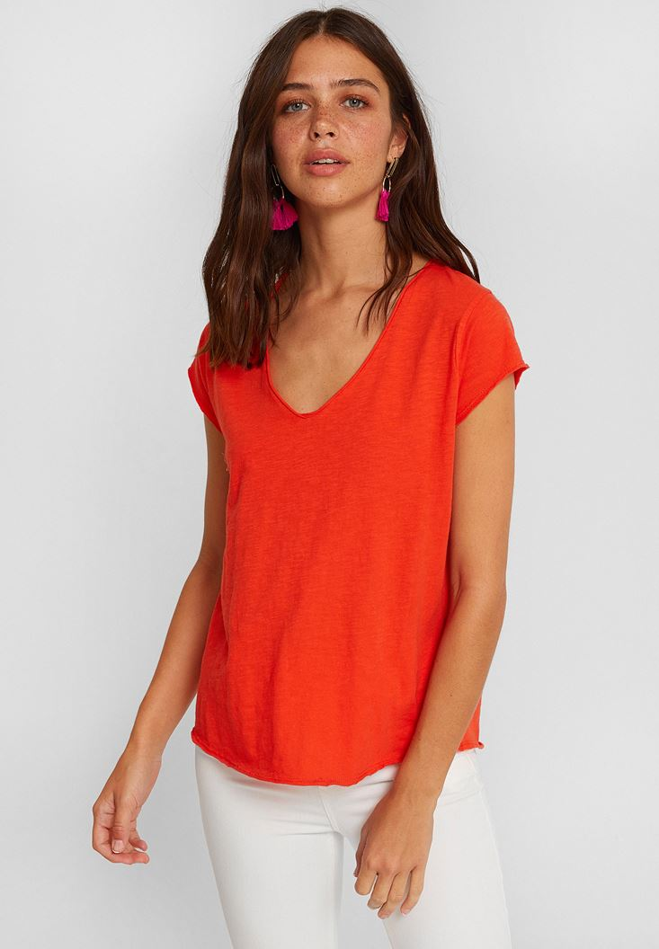 Red Short Sleeve V Neck Cotton T-shirt