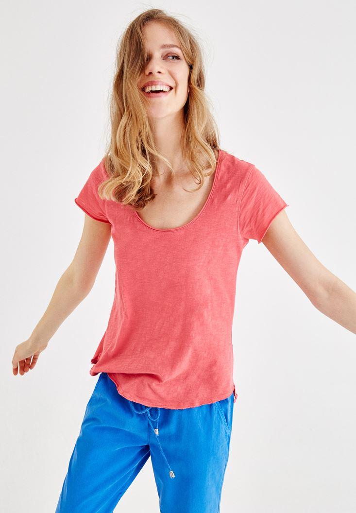 Pink U Neck Basic T-shirt