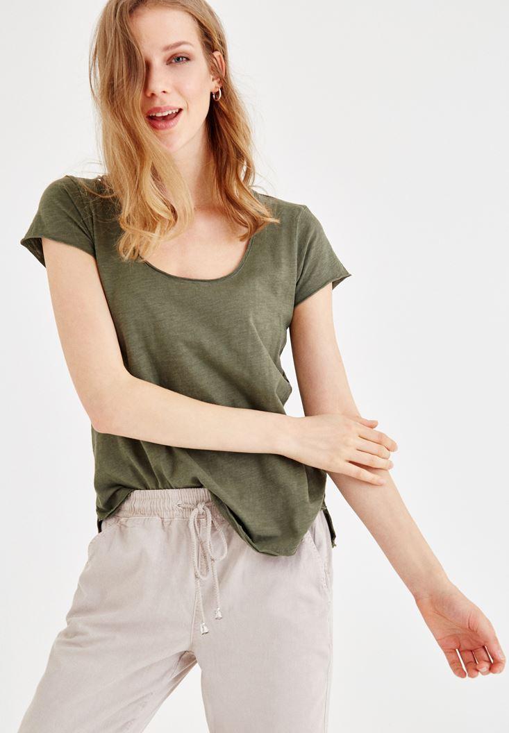 Yeşil U Yaka Basic Tişört