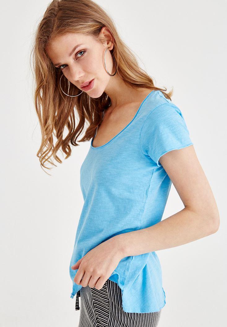 Mavi U Yaka Basic Tişört