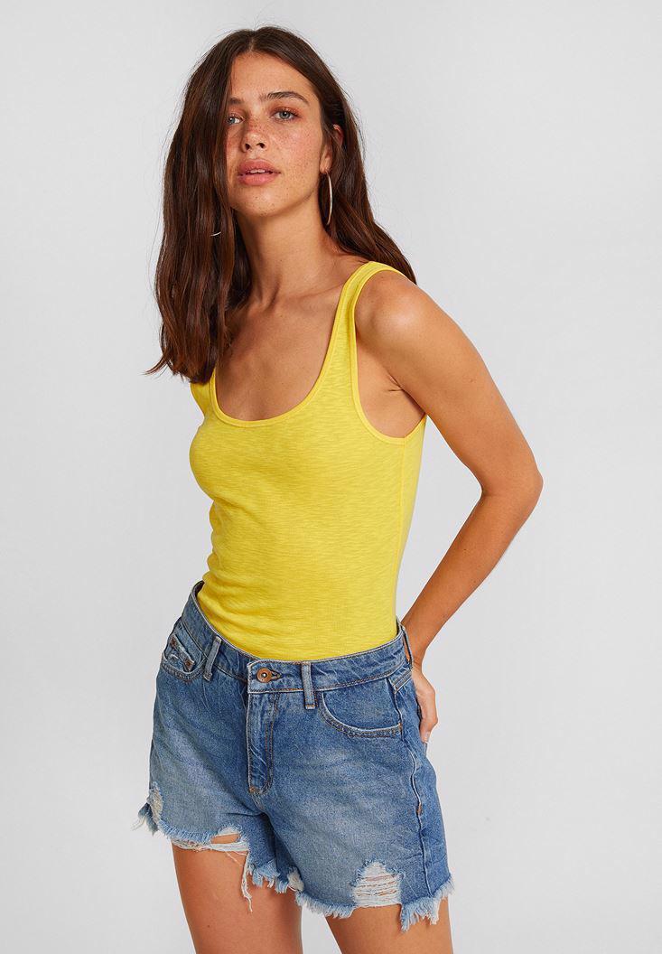 Women Yellow Cotton Athlete