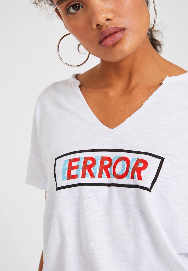 Bayan Beyaz Error Baskılı Tişört
