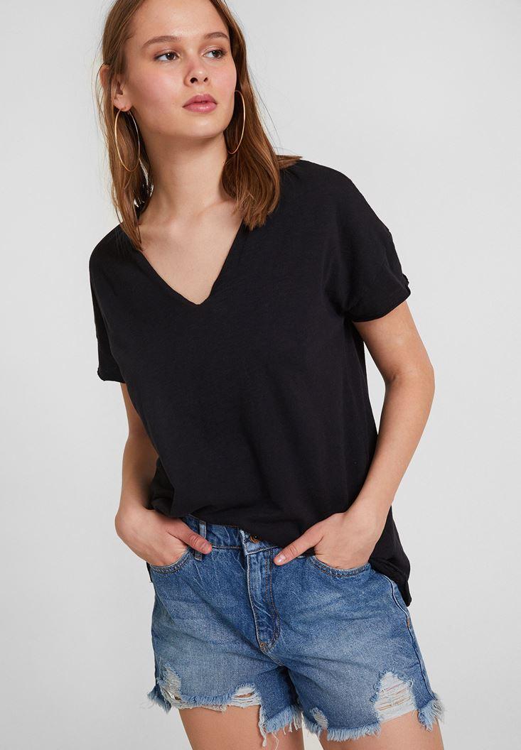 Siyah V Yaka Uzun Basic Tişört