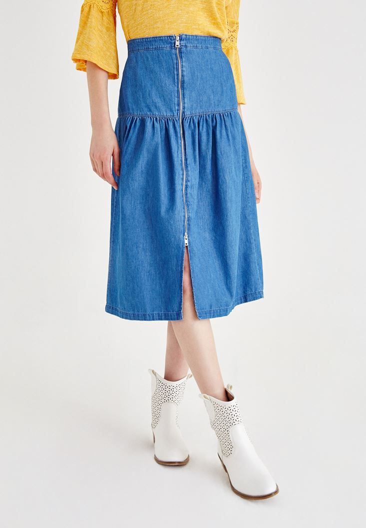 Blue Denim Skirt with Zipper Details