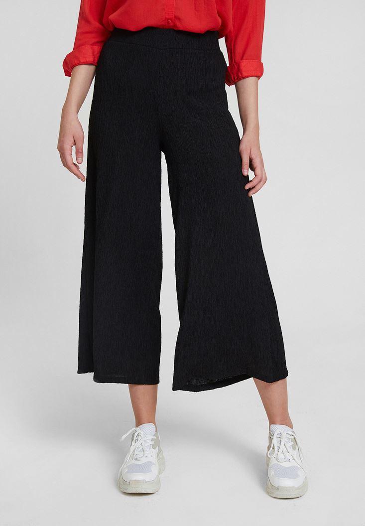 Siyah Yüksek Bel Dokulu Bol Pantolon