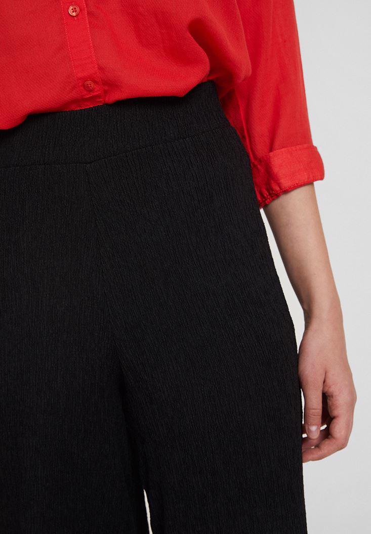 Bayan Siyah Yüksek Bel Dokulu Bol Pantolon