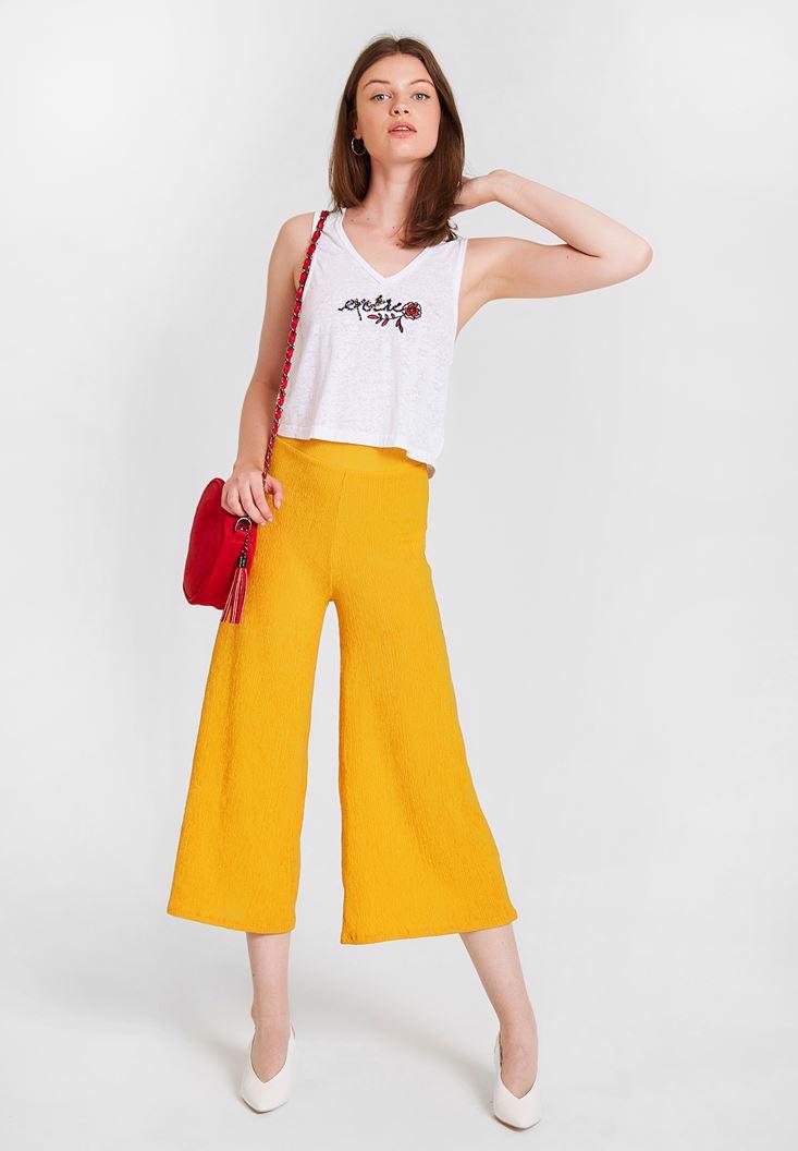 Bayan Sarı Yüksek Bel Dokulu Bol Pantolon