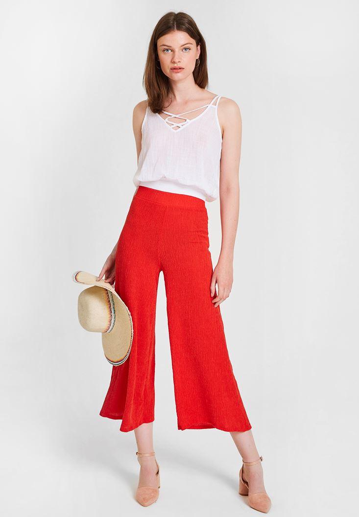 Kırmızı Yüksek Bel Dokulu Bol Pantolon