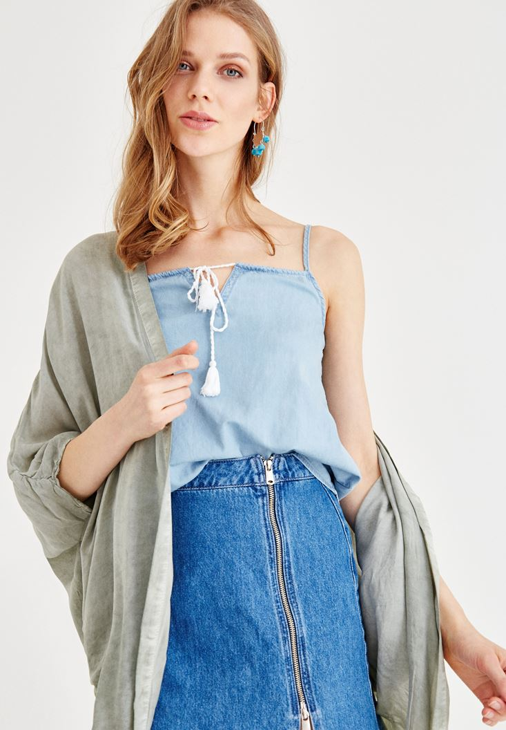 Blue Jean Blouse with Binding Details