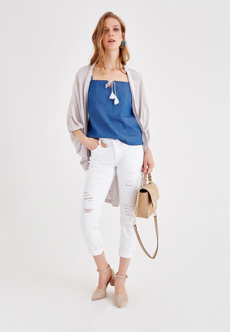 Women Blue Jean Blouse with Binding Details