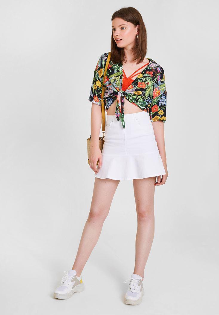 White Denim Skirt with Pocket Details