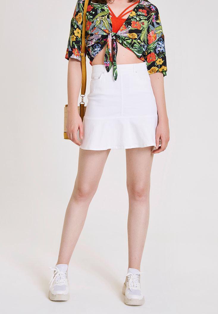 Women White Denim Skirt with Pocket Details