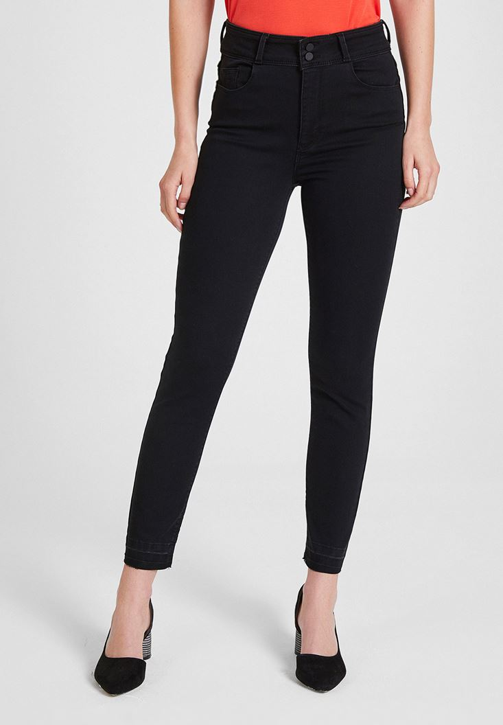 Black High Rise Skinny Jeans with Details