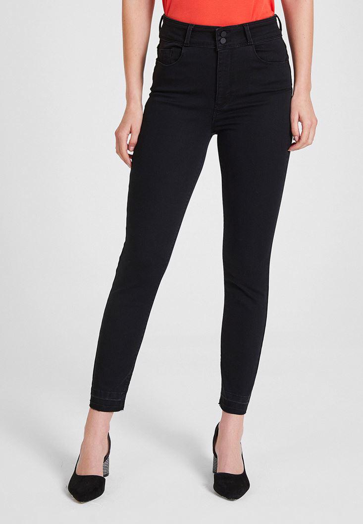 Women Black High Rise Skinny Jeans with Details