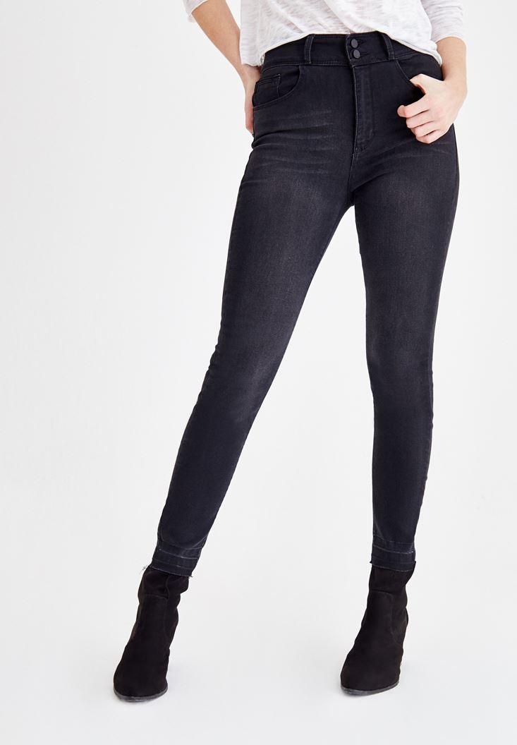 Siyah Yüksek Bel Dar Paça Çift Düğme Detaylı Pantolon